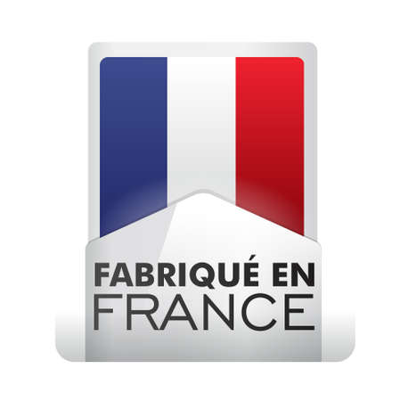 flag french icon: made in france - fabriqué en france Illustration