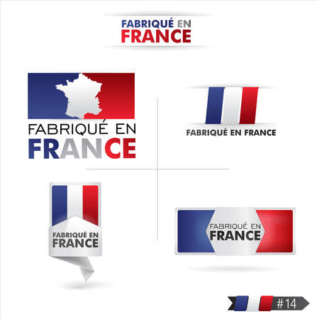 french flag: made in france - fabriqué en france Illustration