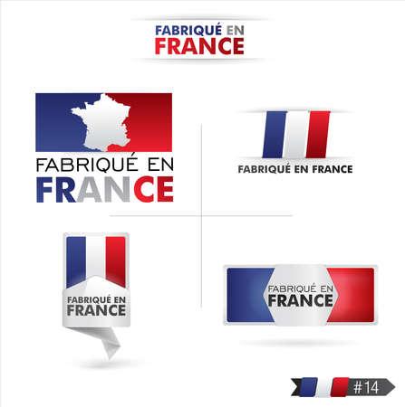 flag french icon: made in france - fabriqu� en france Illustration
