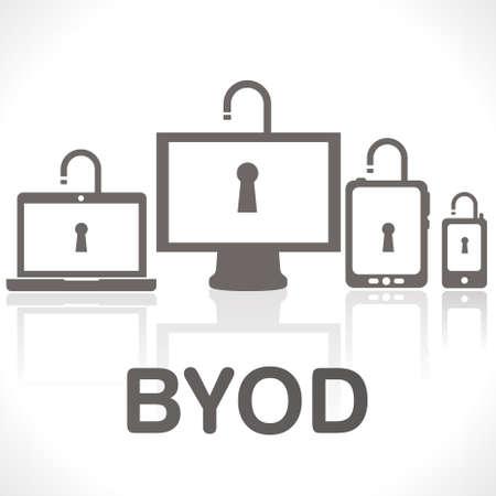 BYOD - breng uw eigen apparaten Vector Illustratie