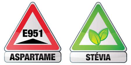 aspartame and stevia Illustration