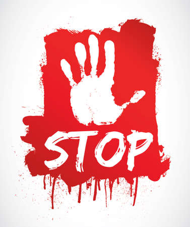NO, STOP   red hand Vector