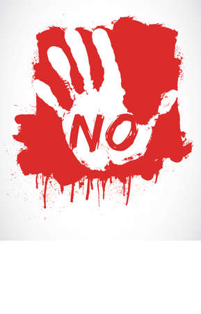 stop hand: NO, STOP   red hand Illustration