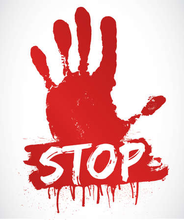 red hand    stop Stock Vector - 19650582