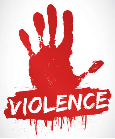 stop signs: stop violence Illustration