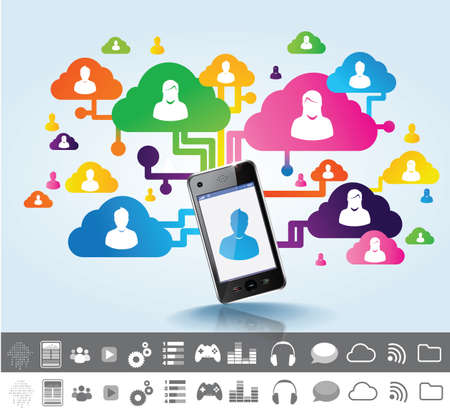 cloud, tactil tablet and social media Stock Photo - 21250785