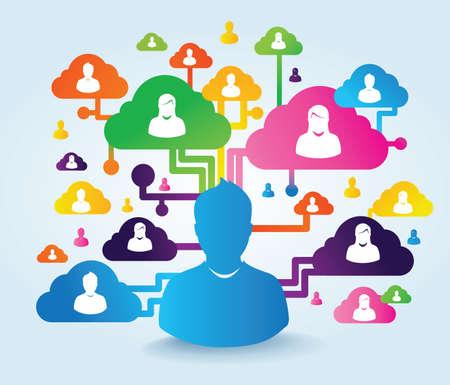 social networking service: la nube y las redes sociales Foto de archivo