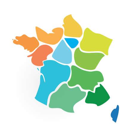 Ergebnis? ? Karte und Regionen Frankreichs Vektorgrafik