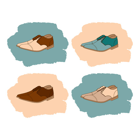 men's shoes: Set of mens shoes in vintage style. Vector illustration.