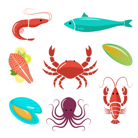 cangrejo: Kit plana mariscos. Bueno para restaurante de diseño de menú, carteles, folletos o envoltura. Vectores