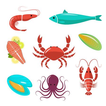 Seafood flat kit. Goed voor het ontwerp restaurant menu, posters, flyers of wikkelen.