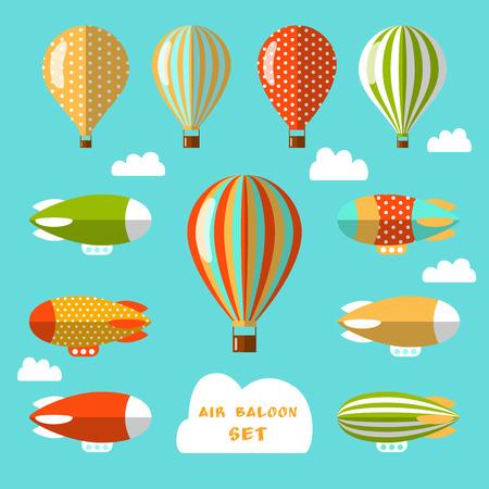 공기 풍선 및 비행선의 집합입니다. 플랫 벡터 일러스트 레이 션. 웹 디자인 및 전단지, 카드 또는 어린이 상품의 디자인에 대 한 다채로운 요소.