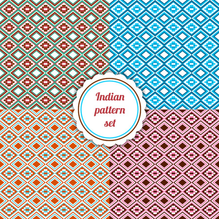 six objects: Indian pattern set. Collection of six colorful seamless backgrounds. Good for design of fabric, wrapping and other objects.