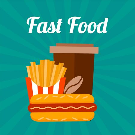 ready to eat: Fast food banner. Flat retro style. Coffee, franch fries and sandwich.