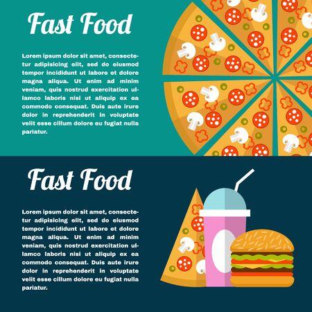 comida rapida: Dos banderas de comida rápida. Estilo plano. Pizza, papas fritas, hamburguesas, café y donas.