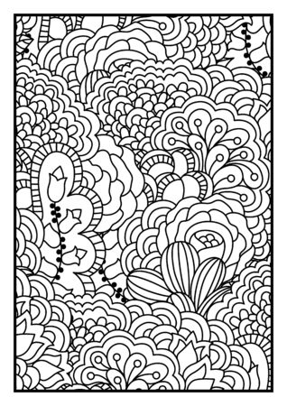 motley: Pattern for coloring book. Black and white background with floral, ethnic, hand drawn elements for design.