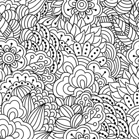 jardines con flores: Fondo blanco y negro sin fisuras. , Elementos florales, �tnicos dibujado a mano para el dise�o. Bueno para colorear libro para adultos o de dise�o de embalaje y textil.