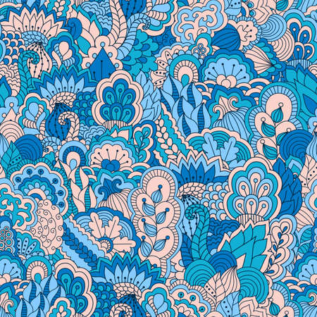 botany: Hand drawn seamless pattern with floral elements. Colorful background. Pattern can be used for fabric, wallpaper or wrapping.