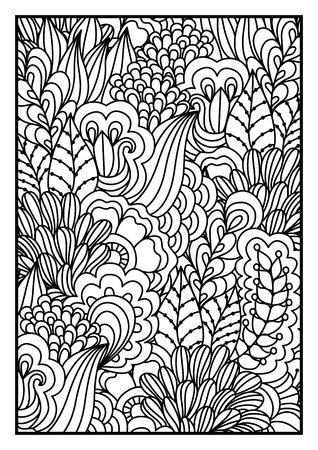 motley: Black and white background. Floral, ethnic, hand drawn elements for design. Good for coloring book for adults or design of wrapping and textile. Illustration