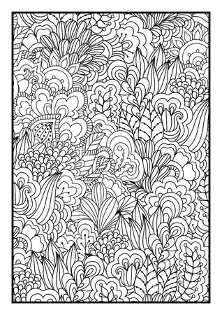 gente adulta: Fondo blanco y negro. , Elementos florales, étnicos dibujado a mano para el diseño. Bueno para colorear libro para adultos o de diseño de embalaje y textil. Vectores