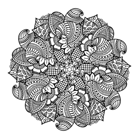henna: Round element for coloring book. Black and white ethnic henna pattern. Floral mandala. Illustration