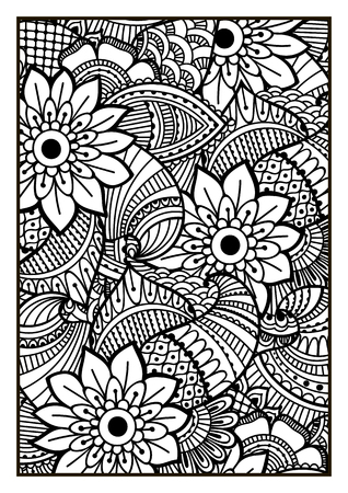 nature flowers: Black and white pattern. Ethnic henna hand drawn background for coloring book, textile or wrapping. Illustration