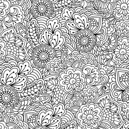 book background: Seamless black and white background. Floral, ethnic, hand drawn elements for design. Good for coloring book for adults or design of wrapping and textile.
