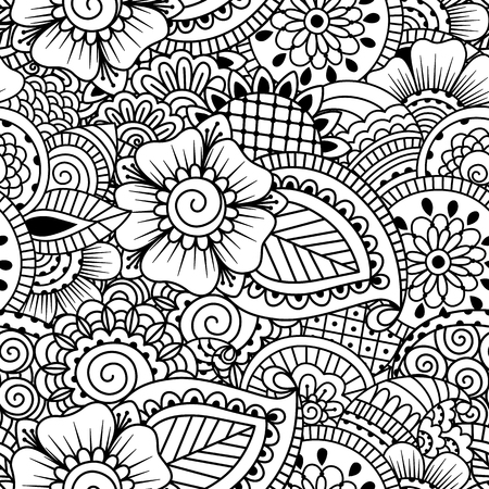 mehendi: Seamless black and white pattern. Ethnic henna hand drawn background for coloring book, textile or wrapping.