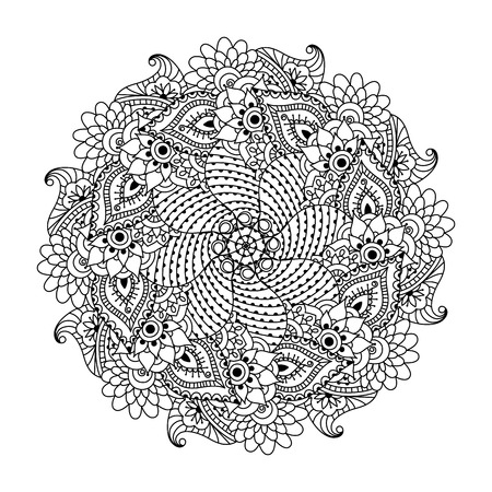 adults: Round element for coloring book. Black and white ethnic henna pattern. Floral mandala. Illustration