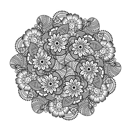 mandala tattoo: Round element for coloring book. Black and white ethnic henna pattern. Floral mandala.Black and white pattern. Ethnic henna hand drawn background for coloring book, textile or wrapping.