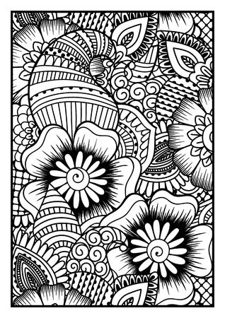 Motif noir et blanc. Ethnique main de henné pour colorer attirée fond livre, textile ou l'emballage. Vecteurs