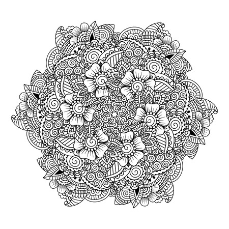 mehendi: Round element for coloring book. Black and white ethnic henna pattern. Floral mandala.Black and white pattern. Ethnic henna hand drawn background for coloring book, textile or wrapping.