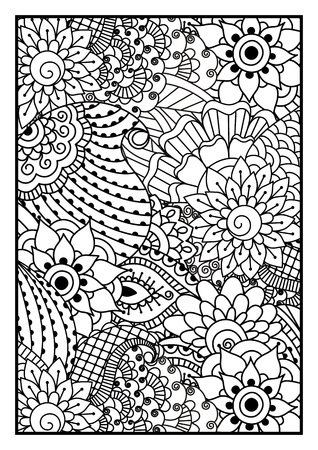 floral background: Black and white pattern. Ethnic henna hand drawn background for coloring book, textile or wrapping. Illustration