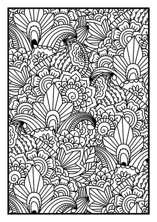 gente adulta: Black and white pattern. Ethnic henna hand drawn background for coloring book, textile or wrapping. Vectores