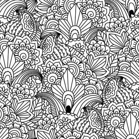 motley: Seamless black and white background. Floral, ethnic, hand drawn elements for design. Good for coloring book for adults or design of wrapping and textile.
