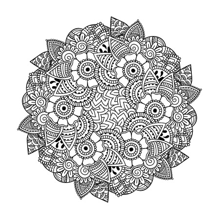 henna pattern: Round element for coloring book. Black and white ethnic henna pattern. Floral mandala. Illustration