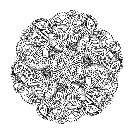mandala: Round element for coloring book. Black and white ethnic henna pattern. Floral mandala. Illustration
