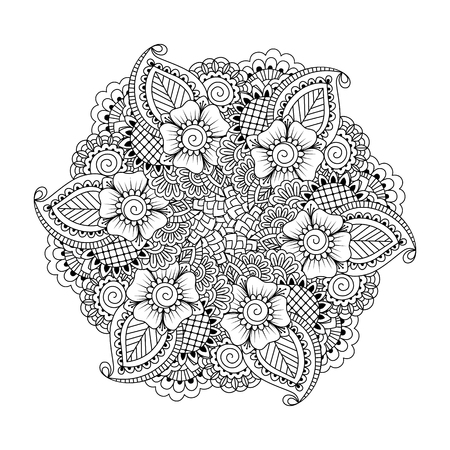 asian adult: Round element for coloring book. Black and white ethnic henna pattern. Floral mandala. Illustration