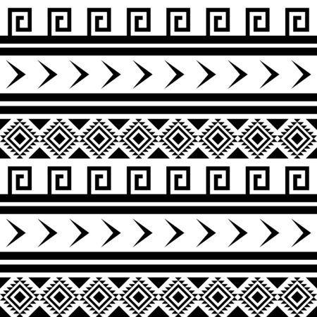 ethnical: Seamless black and white indian pattern. Ethnic geometric background.
