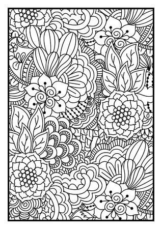 gente adulta: Modelo blanco y negro. Étnico mano henna dibujado de fondo para colorear libro, textil o envoltura.