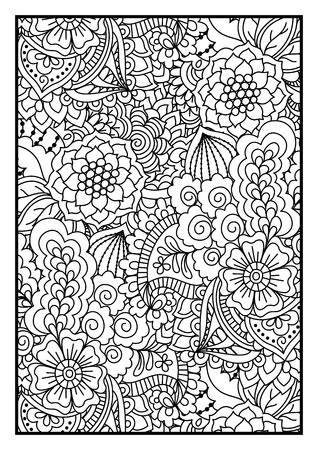 Motif noir et blanc. Ethnique main de henné pour colorer attirée fond livre, textile ou l'emballage.