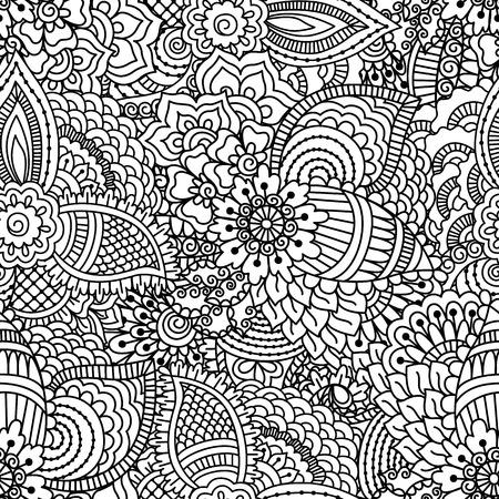 黒と白のシームレスなパターン。塗り絵、繊維または折り返しの民族ヘナ手描き背景。  イラスト・ベクター素材