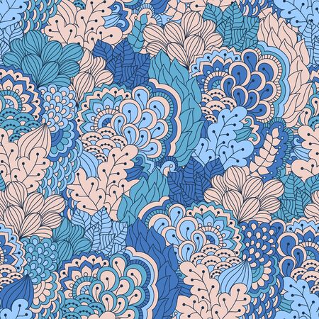 ethno: Hand drawn seamless pattern with floral elements. Colorful ethnic background. Pattern can be used for fabric, wallpaper or wrapping.