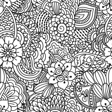 abstract doodle: Black and white seamless pattern. Ethnic henna hand drawn background for coloring book, textile or wrapping.