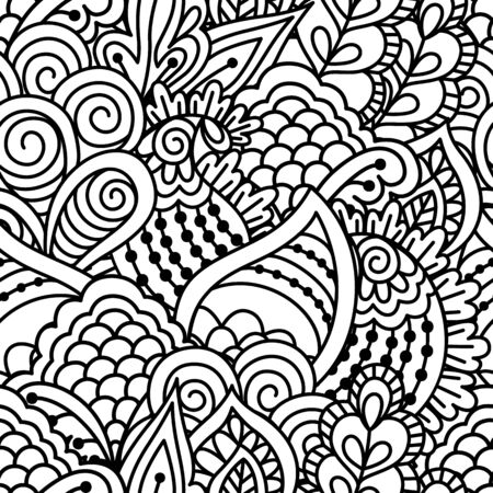 ethno: Seamless black and white background. Floral, ethnic, hand drawn elements for design. Good for coloring book for adults or design of wrapping and textile.