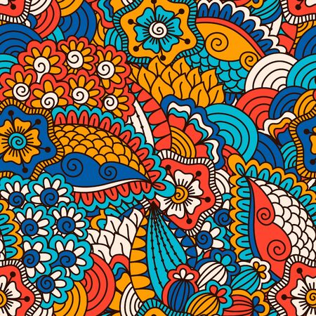 ethno: Hand drawn seamless pattern with floral elements. Colorful ethnic background. Pattern can be used for fabric, wallpaper or wrapping Illustration