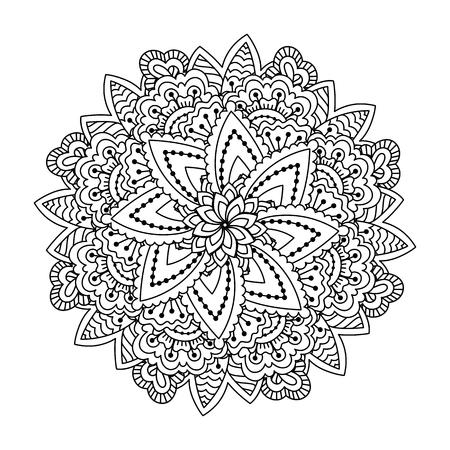 Elemento Redondo Para Colorear Libro. Patrón De Henna étnico Blanco ...
