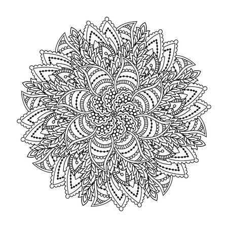 motley: Round element for coloring book. Black and white floral pattern. Vector illustration.