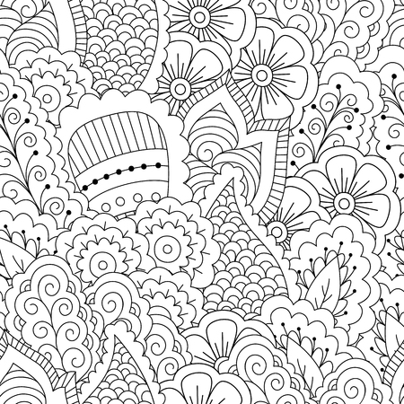 ink illustration: Seamless black and white background. Floral, ethnic, hand drawn elements for design. Good for coloring book for adults or design of wrapping and textile.