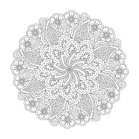 Élément rond pour livre de coloriage. Motif floral noir et blanc. Mandala. Vecteurs